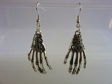 "A Pair of  "" Skeleton Hand  "" Tibetan Silver charm Earrings Kitsch Retro Vintage"