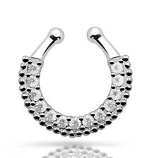 1 x CZ with Beaded Septum Clicker Cilp on Fake Folding Nose Bull Ring