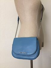 MICHAEL Michael Kors Sky Blue Leather Bedford Small Crossbody Messenger Bag NWT