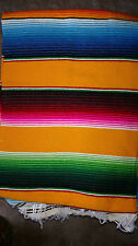 Mexican Serape Blanket Falsa Deep YELLOW multi color with white fringe X-LARGE