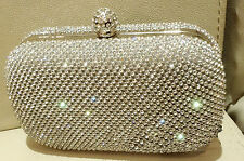Silver Ring Or Clasp Diamante Clutch Evening Bag Prom Purse Wedding Party