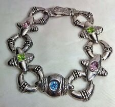"""Premier Designs Multi Color Rhinestone Design Link 7.5"""" Bracelet Versatile Piece"""