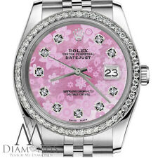 Women's Rolex 26mm Datejust Pink Flower MOP Mother of Pearl Dial Watch