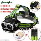 8000LM 2X XM-L T6 Headlamp Headlight Head Light LED Rechargeable USB 18650 Batte
