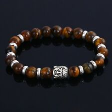 DF4 Natural Lava Stone Beads Brown & Silver Buddha Stretch Bracelet