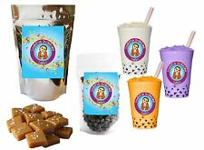 10+ Drinks Caramel Boba / Bubble Tea Kit: Tea Powder, Tapioca Pearls & Straws