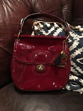 COACH WILLIS Legacy  PATENT LEATHER  CROSS BODY/ Hand BAG 21244. Maroon/ Gold