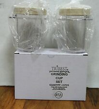 2 Pack- Reg.Size 8 Oz. Containers w/Lids for Tribest Personal Blender & Grinder