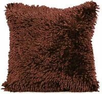 LUXURIOUS CHOCOLATE BROWN SOFT SHAGGY CHENILLE THICK PREMIUM CUSHION COVER