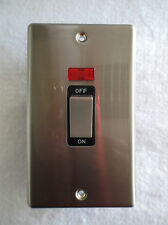 TD LINE ROUND ANGLE 45AMP 1 GANG DP SWITCH + NEON DOUBLE PLATE BRUSHED CHROME