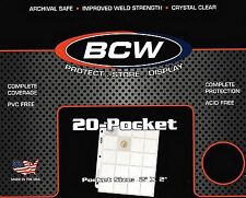 10 PRO20T 20 Pocket Sheets Binder Pages for Coin Holders  Pogs or Slides - BCW