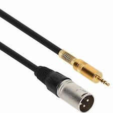 "1m 3ft XLR 3-Pin Male to 3.5mm 1/8"" Stereo Plug Shielded Microphone Mic Cable"