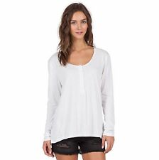 2016 NWT WOMENS VOLCOM HURRY UP HENLEY $40 S white half button