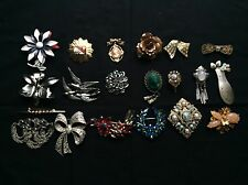 HUGE LOT  20 VINTAGE JEWELRY BROOCHES PINS MIRIAM HASKELL CAMEOS RHINESTONES!!