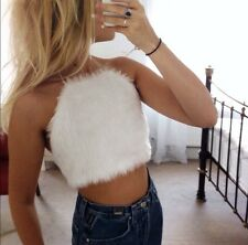 White Faux Fur Fluffy Halter Neck Crop Top, Uk 6/8