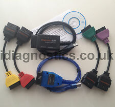 ALFA FIAT DIAGNOSTIC LEAD CABLE MULTIECUSCAN + ELM + KKL VAG + 4 x ADAPTERS