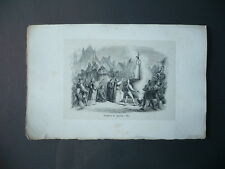GRAVURE 1880 SUPPLICE DE JEANNE D'ARC