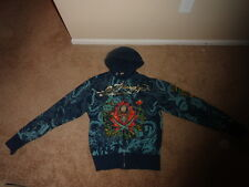 ED HARDY HOODY JACKET ZIP UP MEN SIZE XL BLUE