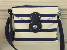 Ralph Lauren Collection Purple Label Canvas & Navy Crossbody Handbag  - NWT