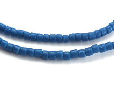 120 COBALT BLUE RECYCLED GLASS HEISHI / DRUM BEADS FROM GHANA, 3.5 MM