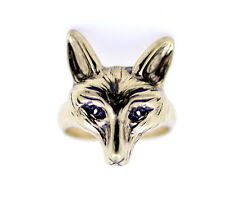 vintage retro style gold coloured fox charm ring, UK size K