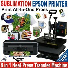 8 in 1 HEAT PRESS TRANSFER SUBLIMATION COMBO Plus PRINTER EPSON COMPLETE PACK
