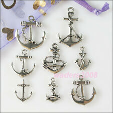32Pcs Mixed Lots of Tibetan Silver Tone Anchor Charms Pendants