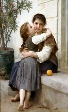 Calinerie A Little Coaxing by William Bouguereau Canvas Picture Poster Print NEW