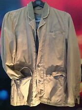 Z BRAND-DISTRESSED KHAKI JACKET SPT CT W/LEATHER TRIM-REMOVABLE CAMO LINER-SZ M