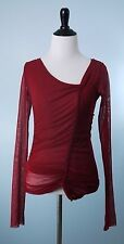 JEAN PAUL GAULTIER $495 SOLEIL Red Long Sleeve Stretch Mesh Tunic Top Size M