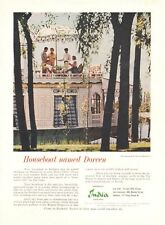 1962 India Tourist Houseboat Named Doreen in Kashmir PRINT AD