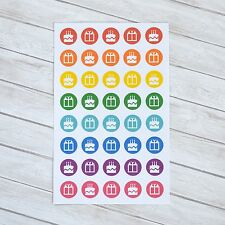 40 COLORFUL BIRTHDAY REMINDER STICKERS FOR ERIN CONDREN PLANNER OR CALENDAR