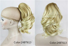 Brown Ponytail Extension Hairpiece wavy Claw clip in on Hair Piece 12 inches