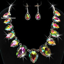 HUGE Mystic Topaz Borealis Rainbow Cz Crystal Tennis Necklace Dangle Earring Set