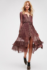NEW Free People FP One Shine Maxi Belted Shirt Dress Purple & Gold Metallic $168
