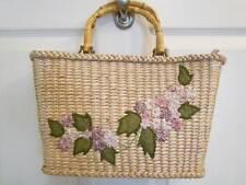 CAPPELLI Straworld Box PURSE - soft woven straw w/ stitched flowers