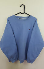 VTG RETRO MENS BLUE TOMMY HILFIGER LOGO ONLY OVERHEAD SWEATSHIRT JUMPER UK XL