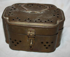 Antique Brass Cross Cutout  Decorative Collectible Cricket Cage or Trinket Box