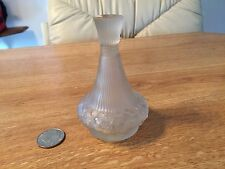 VINTAGE Made in France PERFUME Frosted Glass BOTTLE Embossed Design w STOPPER