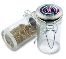 Trippy Kitty Wire Top Glass Stash Herb Jar w/ Air Tight Seal & Flip Over Lid Cat