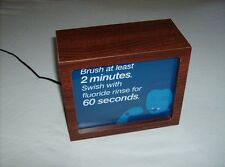 Dentist office wood lighted panel brush 2 minutes rinse 60 seconds display sign