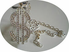 Silver Finish Clear  CZ $ Sign Pendant with complementary  Chain
