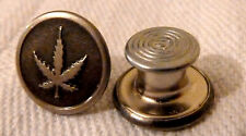 Cannabis Hemp Leaf - 30x 14mm Metal Pk Jean Type Buttons & Arrow Nails Hammer On