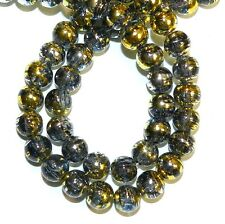G1522L Black Diamond 8mm Round Metallic Drawbench Swirl Crackle Glass Beads 32""