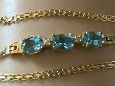 Solid14K Yellow Gold Designer Bracelet set with Bright Blue Sapphire & Diamonds