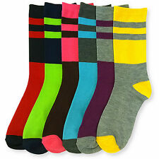 6 Pairs Womens Striped Crew Socks Size 9-11 Rainbow Candy Crayon Colored Lot