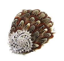 Brown Silver Pheasant Feather Rhinestone Fascinator Hair Clip Headpiece Vtg 78