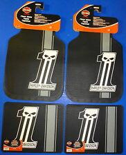 Harley Davidson Dark Custom  Front Rear Rubber Floor Mats Logo 4 Pcs Set Truck