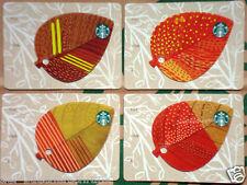 """STARBUCKS CARD """"Autumn Leaves"""" 2014 Germany VHTF - Set of 4 cards / 4 Karten"""