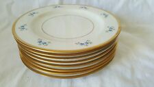 Fine Manchester China Bread Plates Blue Flowers Gold Rim Cream set of (8)